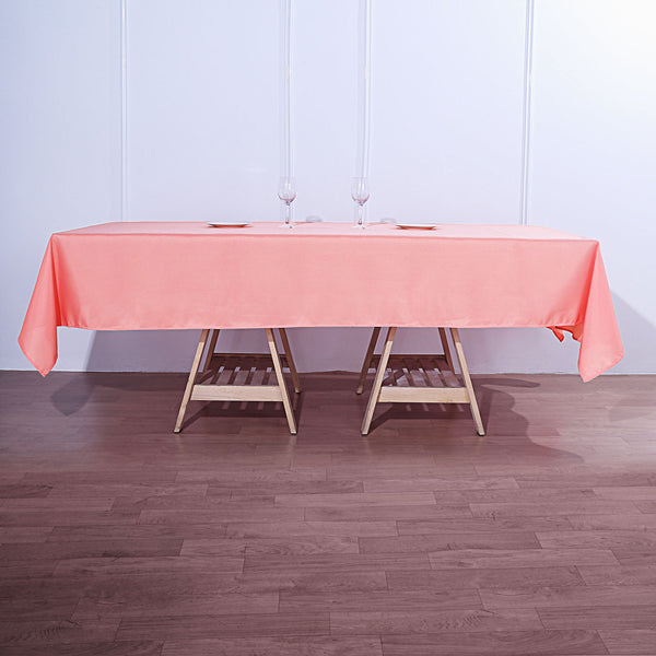 "60""x102"" Coral Polyester Rectangular Tablecloth"