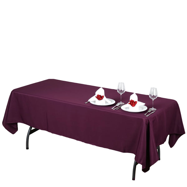"60""x102"" Eggplant Polyester Rectangular Tablecloth"