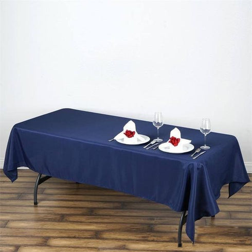 "60x102"" Polyester Tablecloth - Navy Blue"