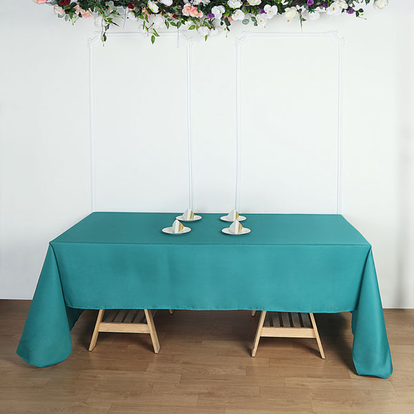 "60""x102"" Teal Polyester Rectangular Tablecloth"