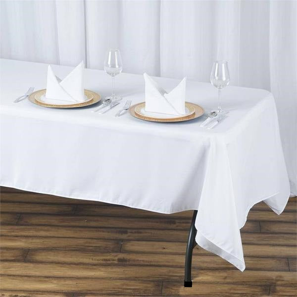 "60x102"" Seamless Premium WHITE Wholesale Polyester Tablecloth For Wedding Banquet Restaurant"