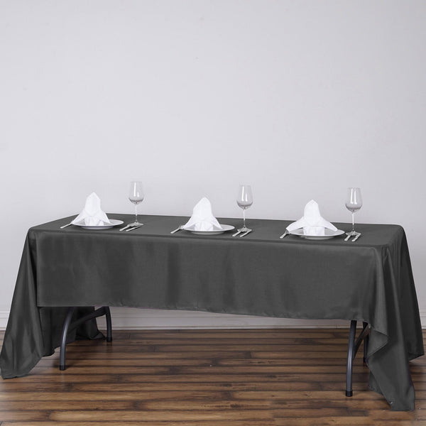 "60""x126"" Charcoal Gray Polyester Rectangular Tablecloth"