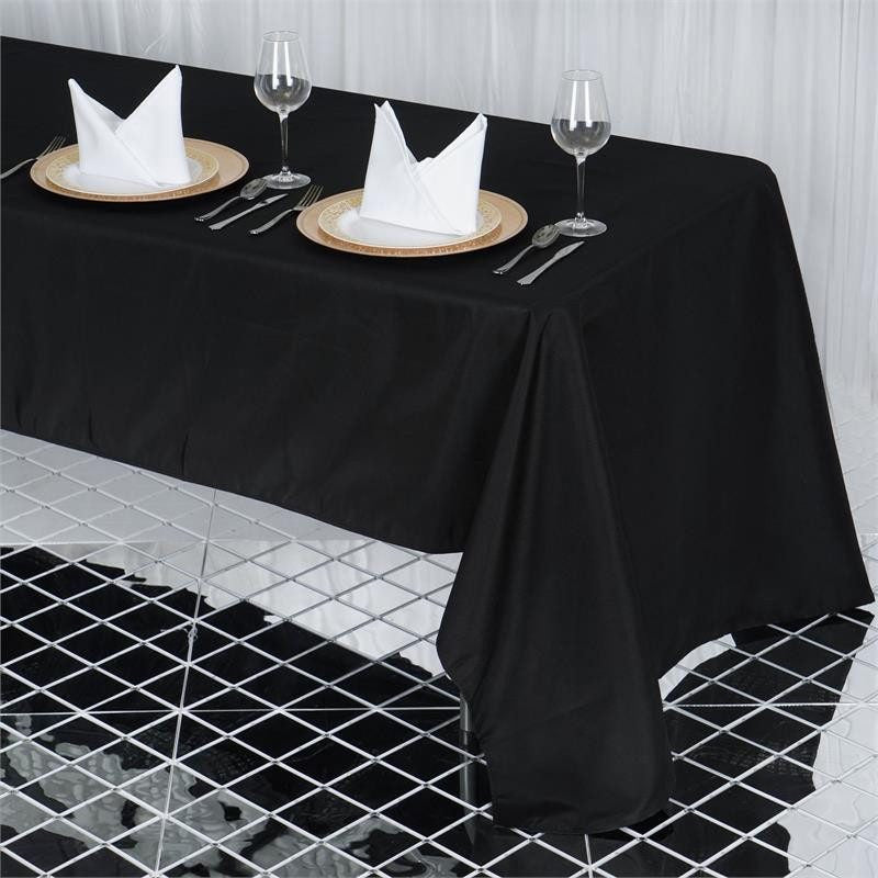 "60x126"" Seamless Premium BLACK Wholesale Polyester Tablecloth For Wedding Banquet Restaurant"
