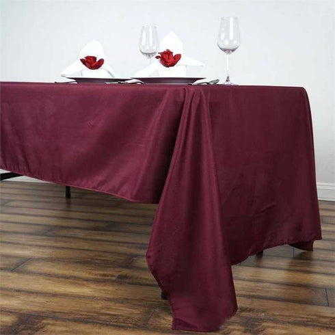 "60x126"" Burgundy Polyester Rectangular Tablecloth"