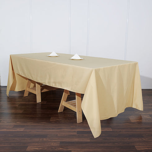 60x126 Champagne Polyester Rectangular Tablecloth