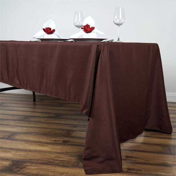 "60""x126"" Chocolate Polyester Rectangular Tablecloth"