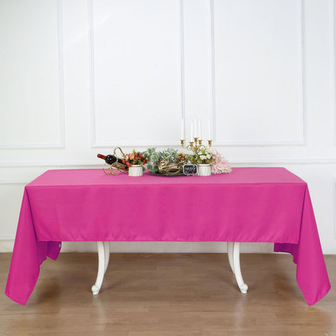 "60x126"" Fushia Polyester Rectangular Tablecloth"