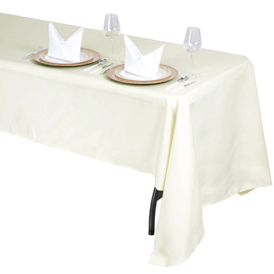 "60x126"" Seamless Premium Polyester Tablecloth - Ivory"