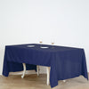 "60""x126"" Navy Blue Polyester Rectangular Tablecloth"