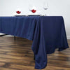 "60x126"" Navy Blue Polyester Rectangular Tablecloth"