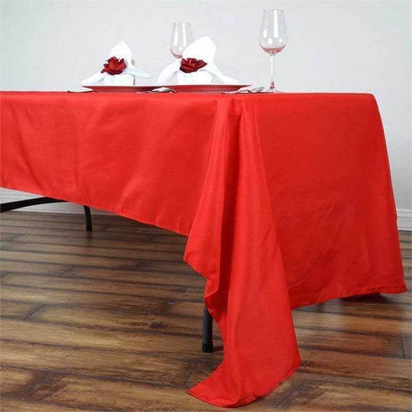 "60""x126"" Red Polyester Rectangular Tablecloth"