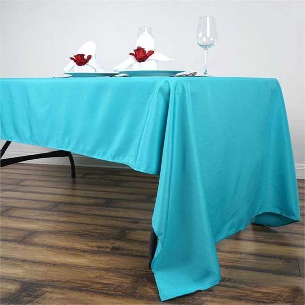 "60""x126"" Turquoise Polyester Rectangular Tablecloth"