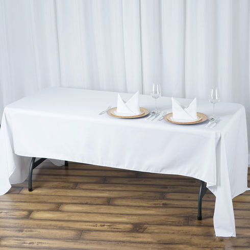 "60x126"" White 220 GSM Seamless Premium Polyester Rectangular Tablecloth"