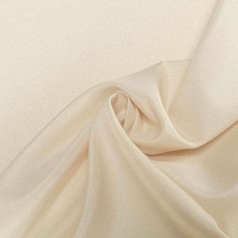 "70"" Beige Polyester Round Tablecloth"