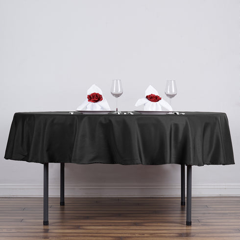 "70"" Polyester Round Tablecloth - Black"