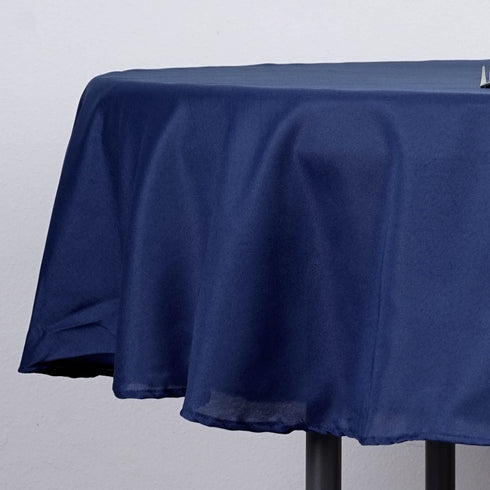 "70"" Polyester Round Tablecloth - Navy Blue"