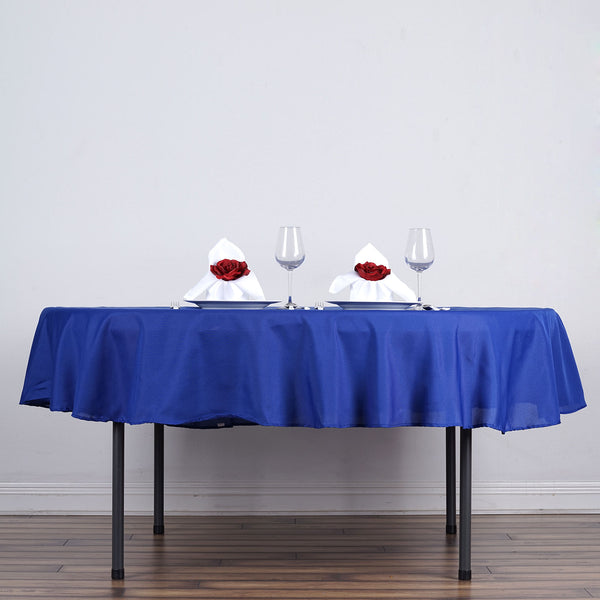 "70"" Royal Blue Polyester Round Tablecloth"