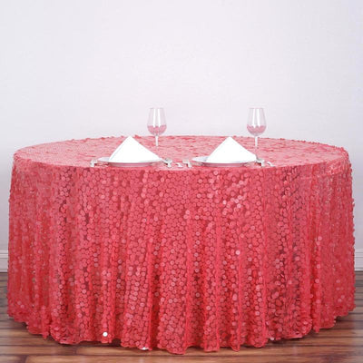 "120"" Big Payette Coral Sequin Round Tablecloth - Premium Collection"