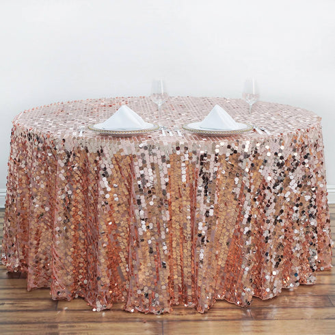 "120"" Big Payette Rose Gold/Blush Sequin Round Tablecloth Premium"