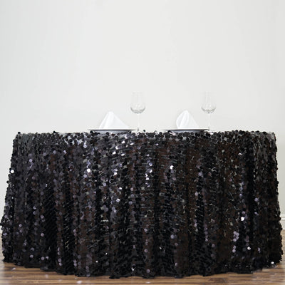 "120"" Big Payette Black Sequin Round Tablecloth Premium Collection"
