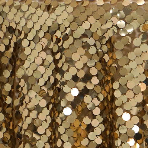 "120"" Big Payette Gold Sequin Round Tablecloth - Premium Collection"