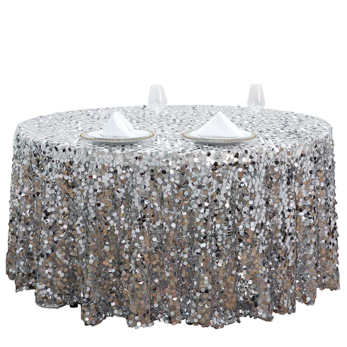 "120"" Big Payette Silver Sequin Round Tablecloth Premium Collection"