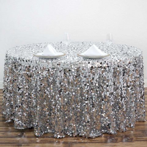"120"" Wholesale Big Payette Sequin Round Tablecloth For Wedding Banquet Party - Silver - Premium Collection"