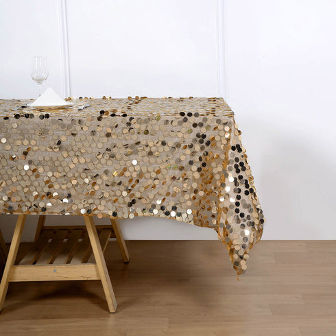 60x102 inches Big Payette Gold Sequin Rectangle Tablecloth