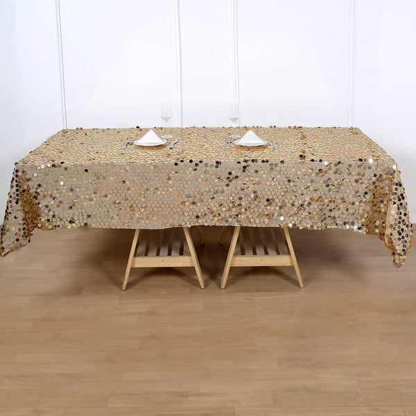 "60""x102"" Big Payette Gold Sequin Rectangle Tablecloth"