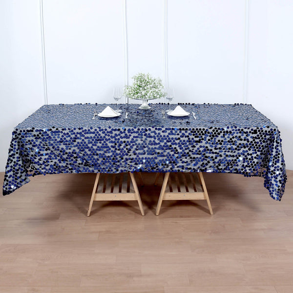 "60""x102"" Big Payette Navy Blue Sequin Rectangle Tablecloth"