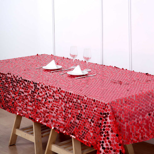 60x102 inches Big Payette Red Sequin Rectangle Tablecloth