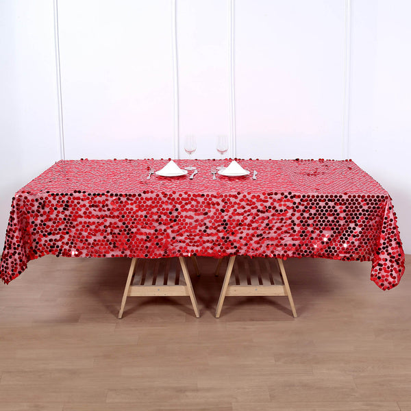 "60""x102"" Big Payette Red Sequin Rectangle Tablecloth"