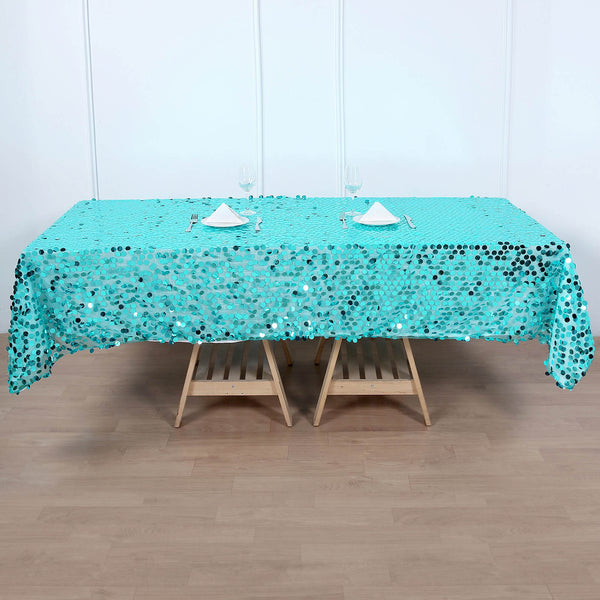 "60""x102"" Big Payette Turquoise Sequin Rectangle Tablecloth"