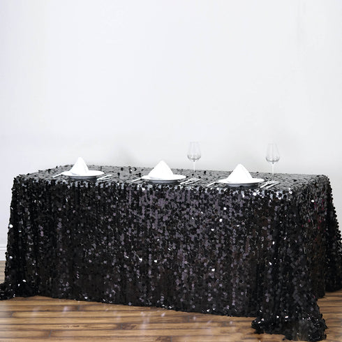 "90X132"" Black Big Payette Sequin Rectangle Tablecloth"