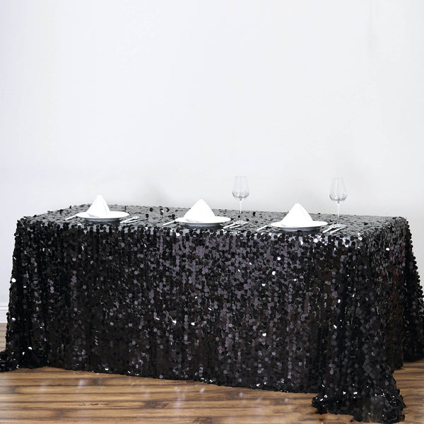 "90""x132"" Black Big Payette Sequin Rectangle Tablecloth"