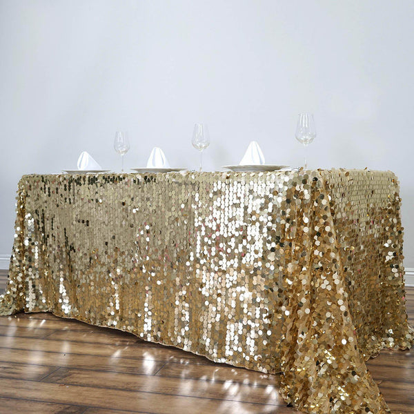 "90""x132"" Champagne Big Payette Sequin Rectangle Tablecloth Premium"