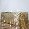 90X132 Champagne Big Payette Sequin Rectangle Tablecloth Premium