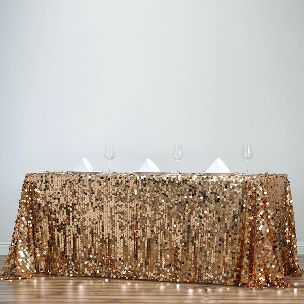 "90""x132"" Gold Big Payette Sequin Rectangle Tablecloth Premium"