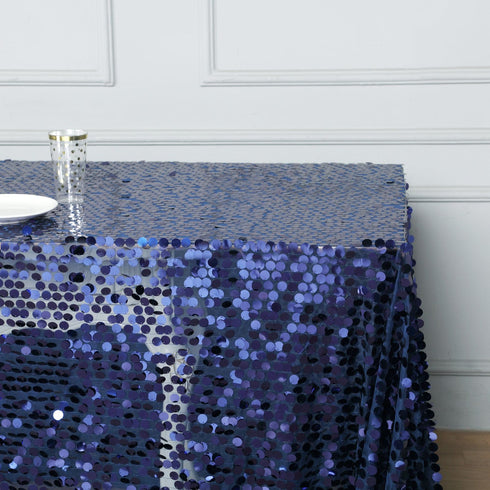 "90X132"" Navy Blue Big Payette Sequin Rectangle Tablecloth"
