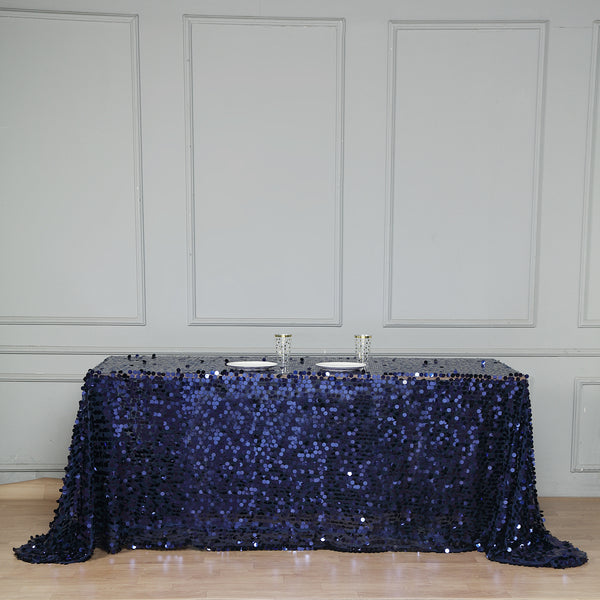 "90""x132"" Navy Blue Big Payette Sequin Rectangle Tablecloth"