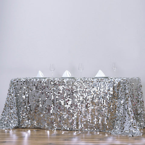"90X132"" Wholesale Silver Premium Big Payette Sequin Rectangle Tablecloth For Wedding Banquet Party"