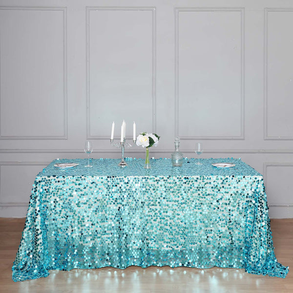 "90""x132"" Turquoise Big Payette Sequin Rectangle Tablecloth"