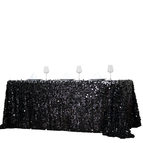 90X156 Black Big Payette Sequin Rectangle Tablecloth Premium
