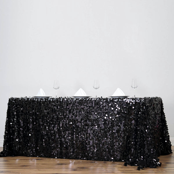 "90""X156"" Black Big Payette Sequin Rectangle Tablecloth Premium"