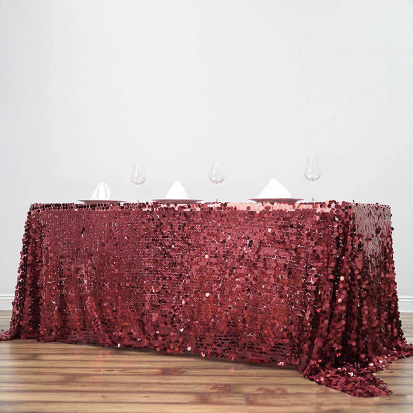 "90""x156"" Burgundy Big Payette Sequin Rectangle Tablecloth Premium"
