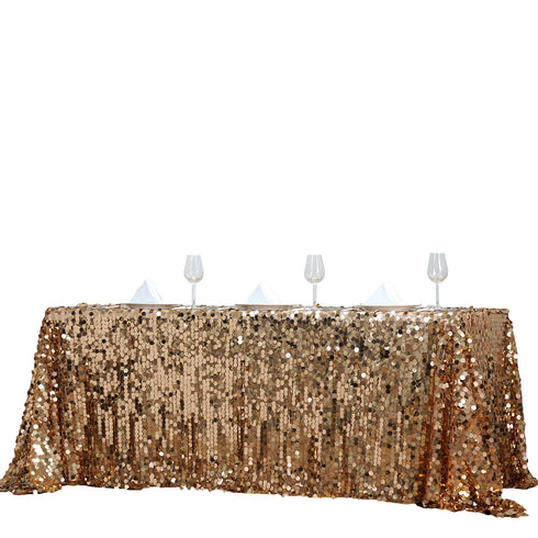 "90X156"" Gold Big Payette Sequin Rectangle Tablecloth Premium"
