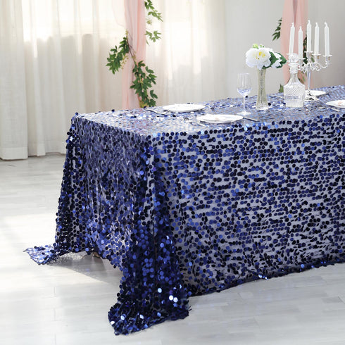 "90X156"" Navy Blue Big Payette Sequin Rectangle Tablecloth Premium"