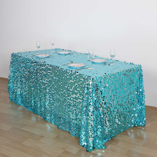 "90""x156"" Turquoise Big Payette Sequin Rectangle Tablecloth Premium"