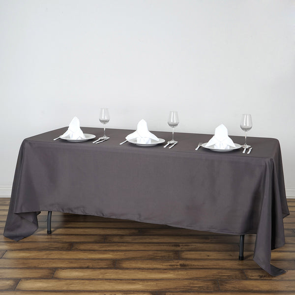 "72""x120"" Charcoal Gray Polyester Rectangular Tablecloth"