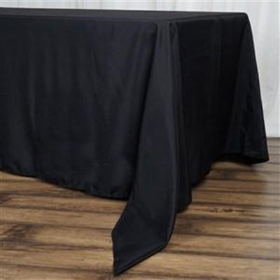 "72x120"" Seamless Premium Polyester Tablecloth - Black"